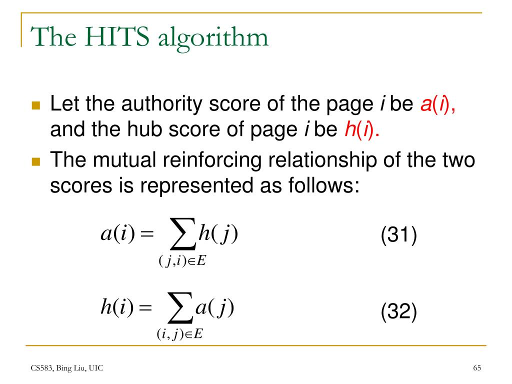The HITS algorithm