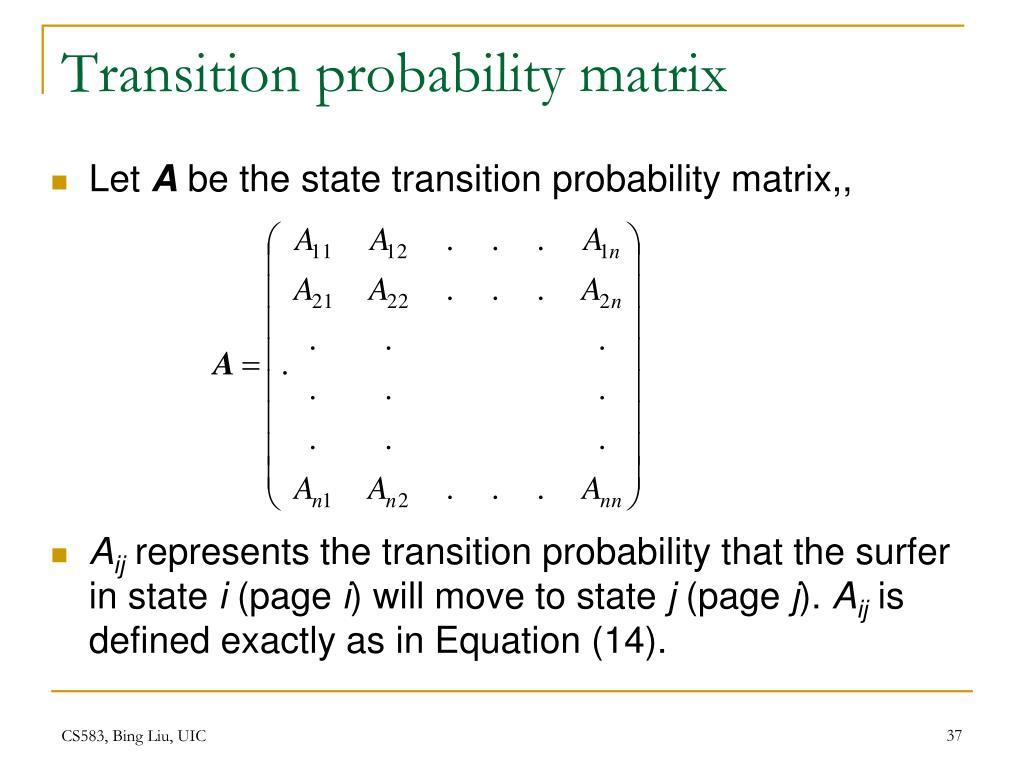 Transition probability matrix