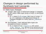 changes in design performed by synthesis tool leonardo