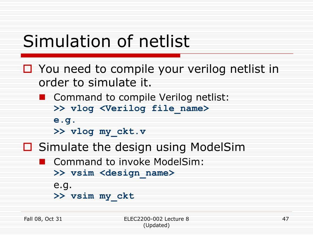 Simulation of netlist