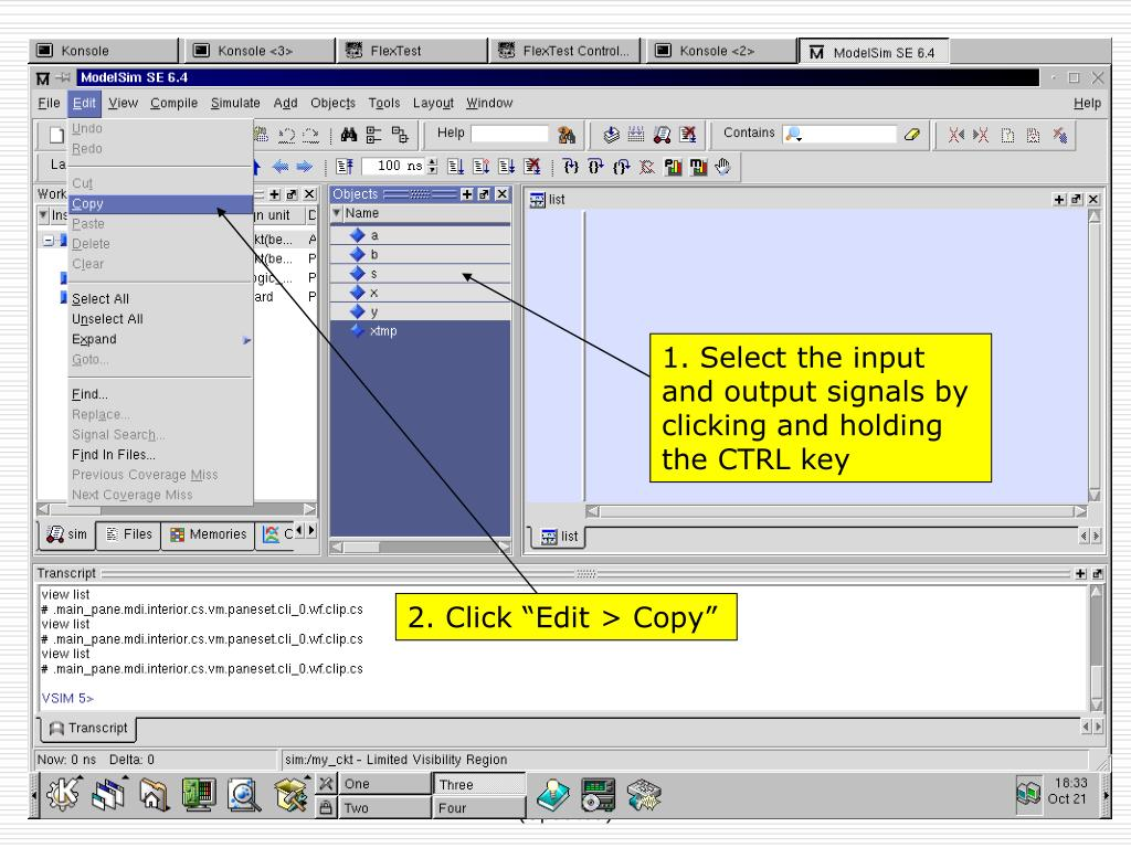 1. Select the input and output signals by clicking and holding the CTRL key