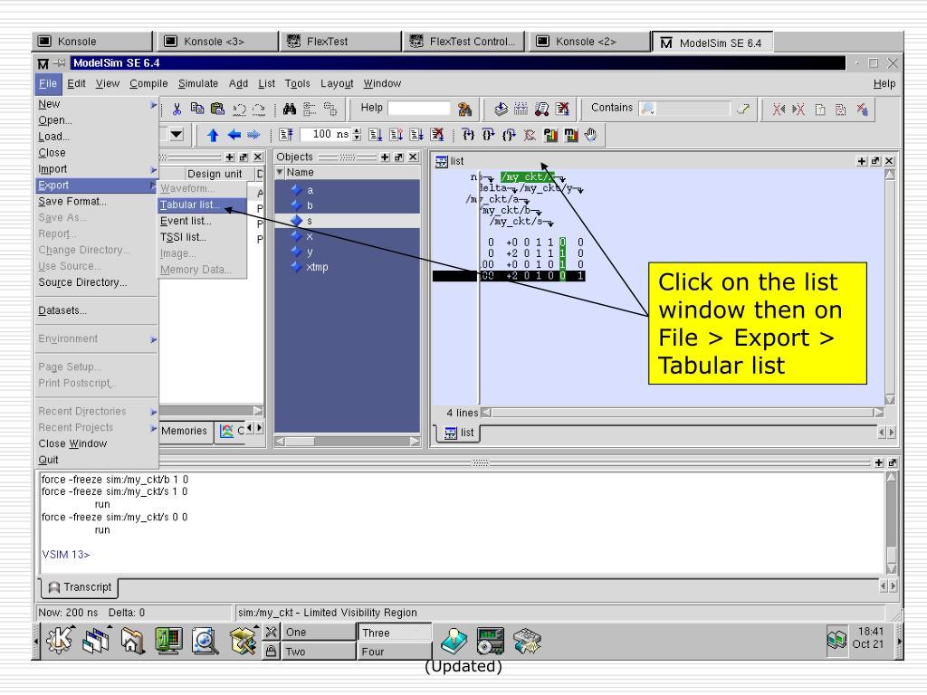 Click on the list window then on File > Export > Tabular list