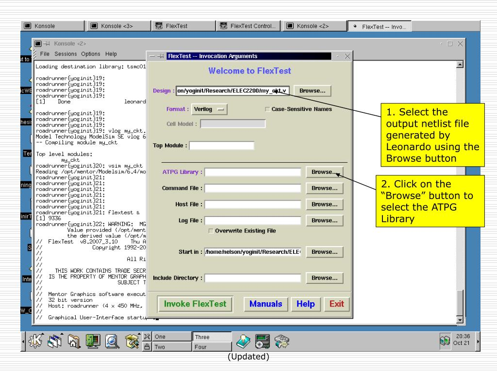 1. Select the output netlist file generated by Leonardo using the Browse button