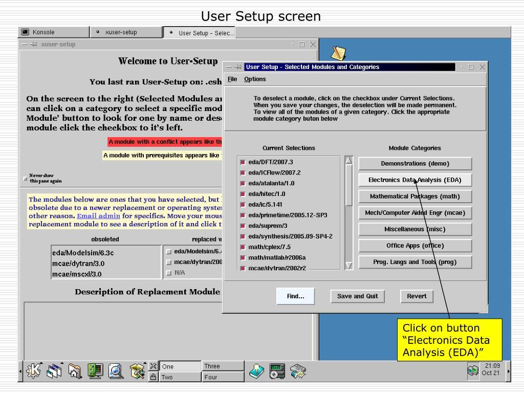 User Setup screen