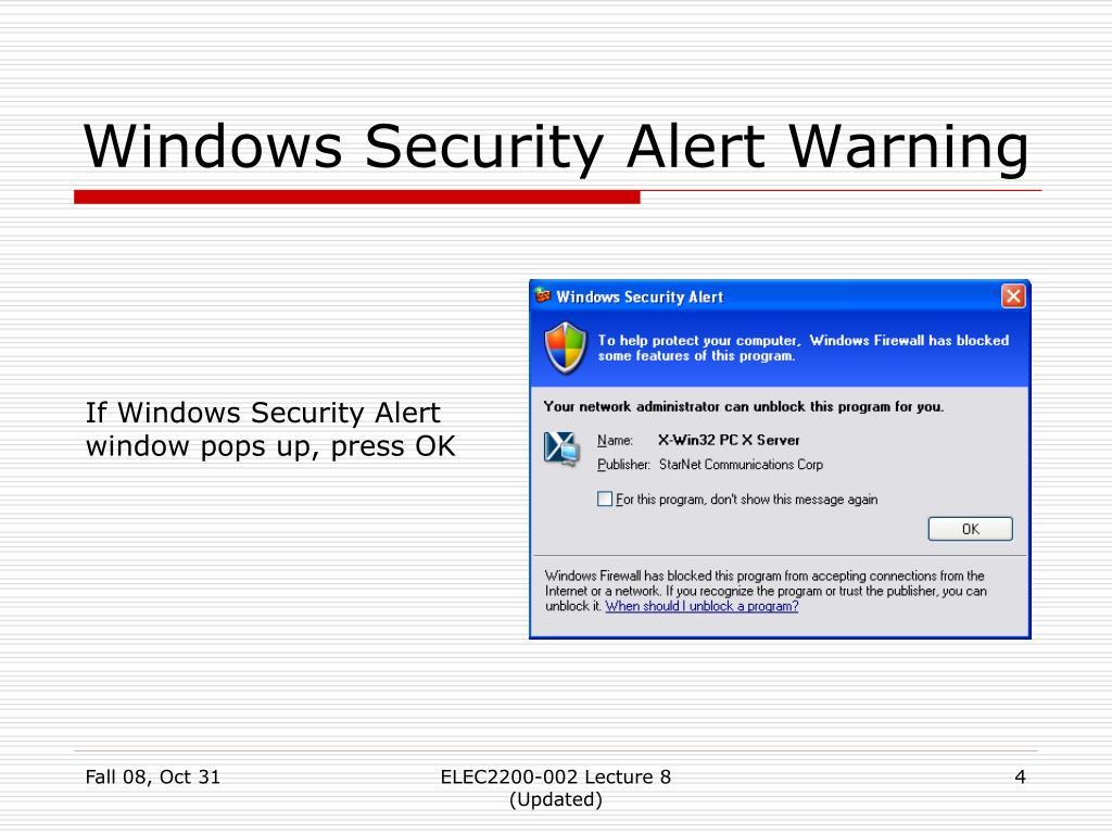 Windows Security Alert Warning