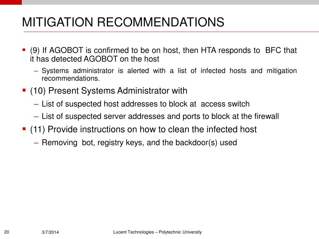 MITIGATION RECOMMENDATIONS