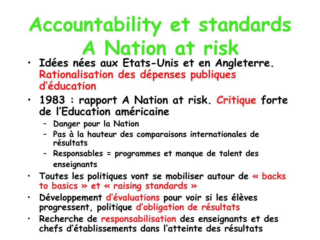 Accountability et standards