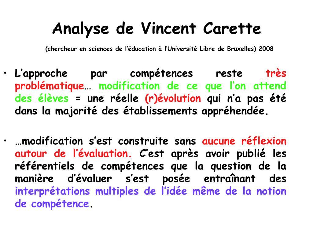 Analyse de Vincent Carette