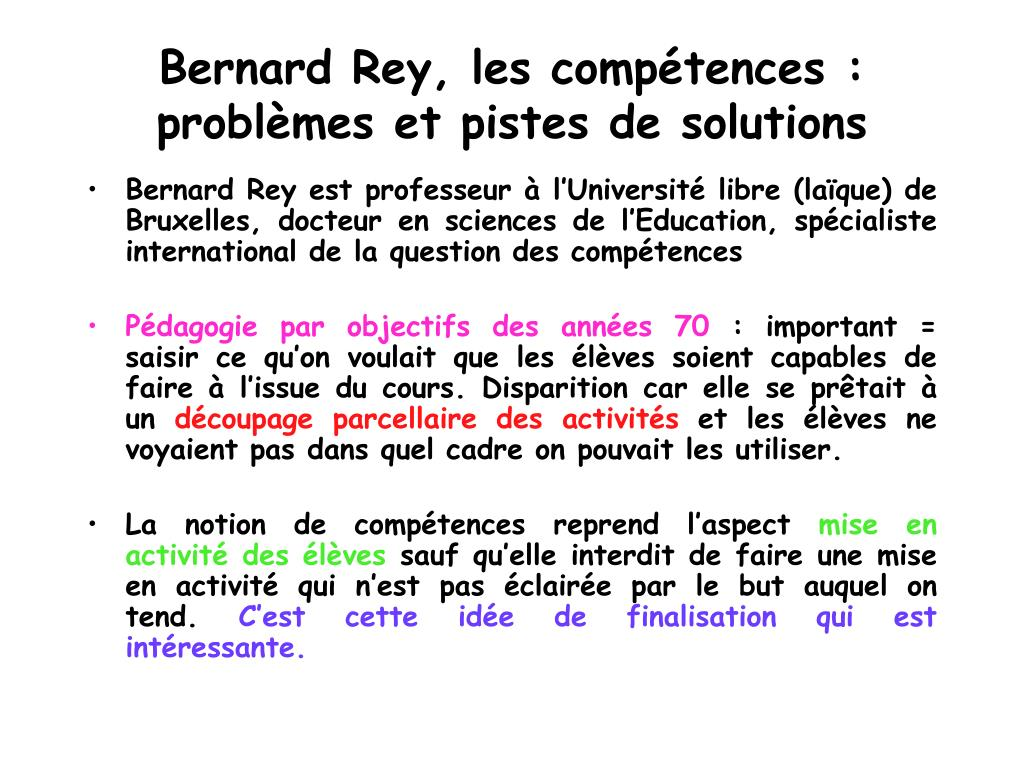 Bernard Rey, les compétences : problèmes et pistes de solutions