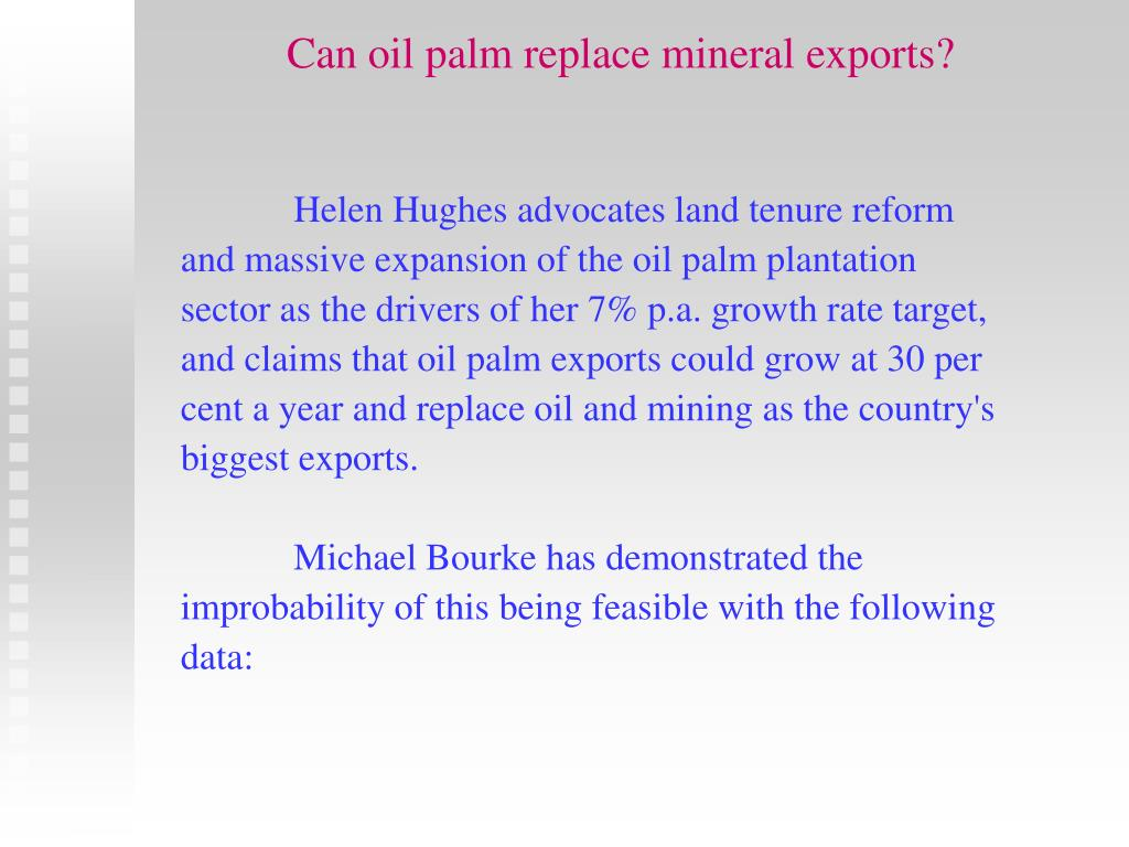 Can oil palm replace mineral exports?