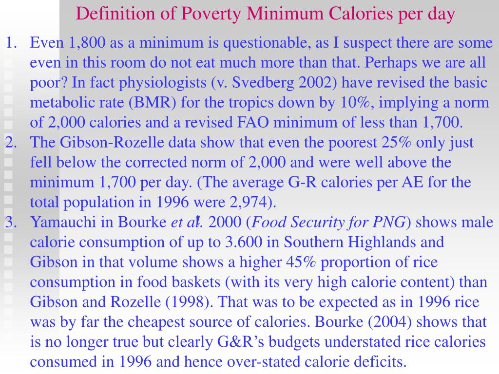 Definition of Poverty Minimum Calories per day