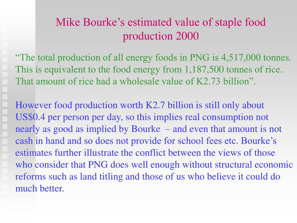 Mike Bourke's estimated value of staple food production 2000