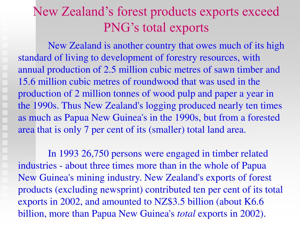 New Zealand's forest products exports exceed PNG's total exports