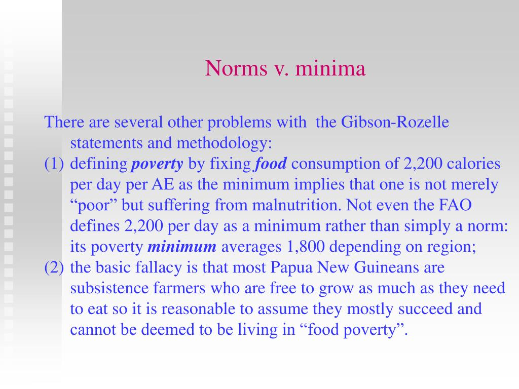 Norms v. minima