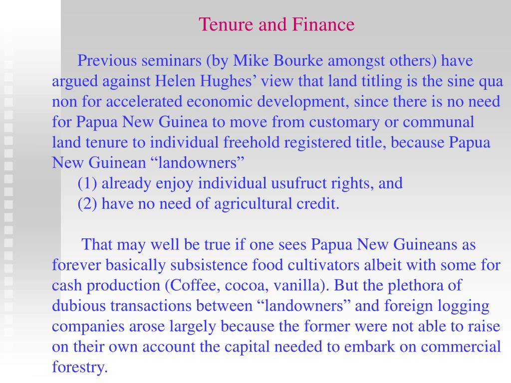 Tenure and Finance