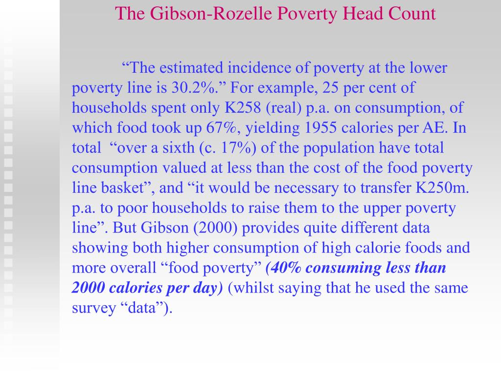 The Gibson-Rozelle Poverty Head Count