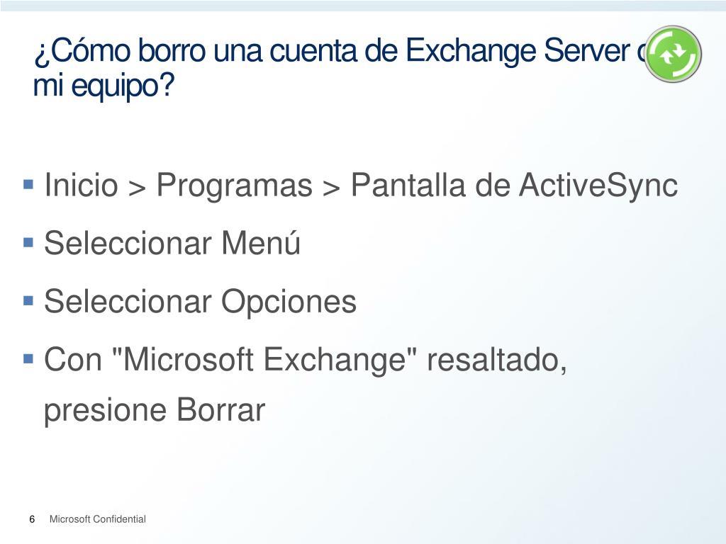 ¿Cómo borro una cuenta de Exchange Server de mi equipo?
