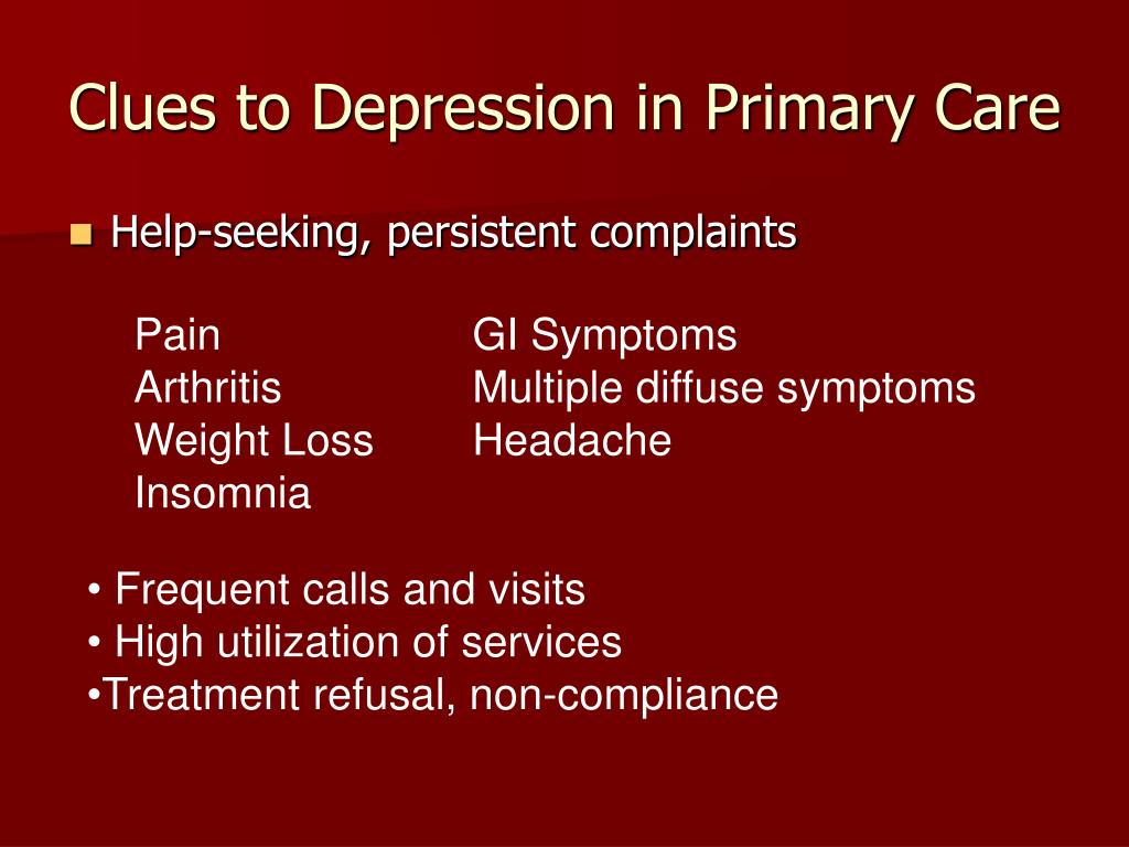 Clues to Depression in Primary Care