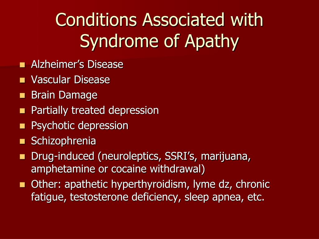 Conditions Associated with Syndrome of Apathy