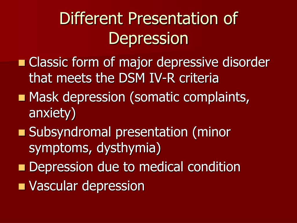 Different Presentation of Depression