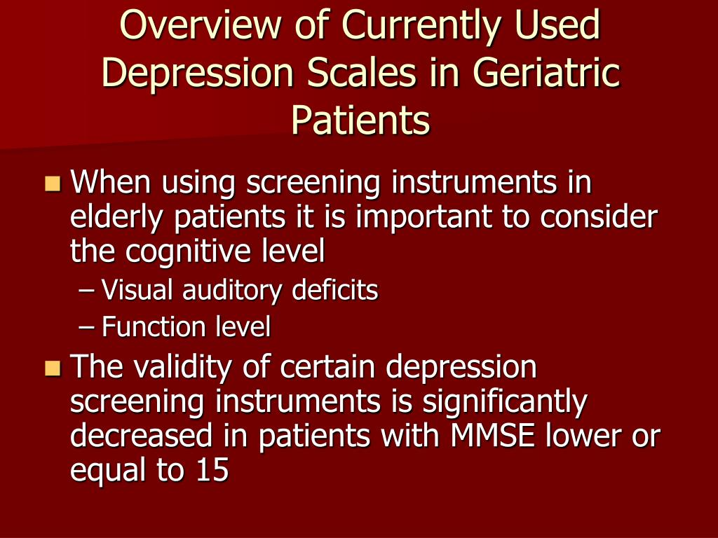 Overview of Currently Used Depression Scales in Geriatric Patients