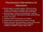 psychosocial interventions for depression