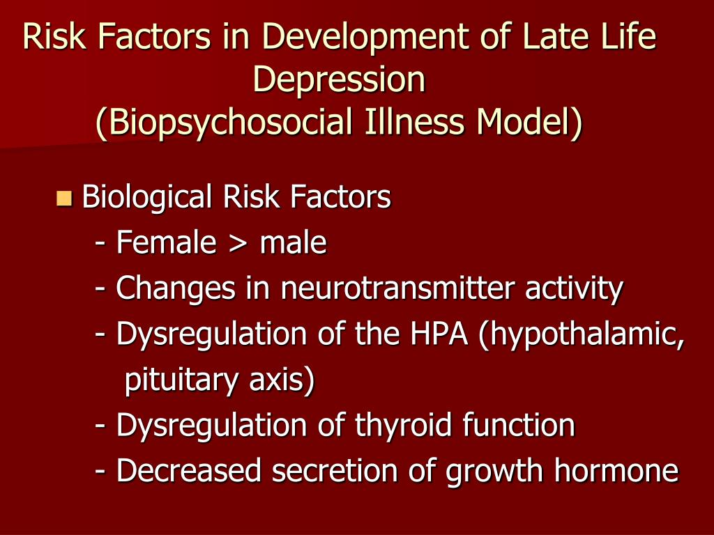 Risk Factors in Development of Late Life Depression