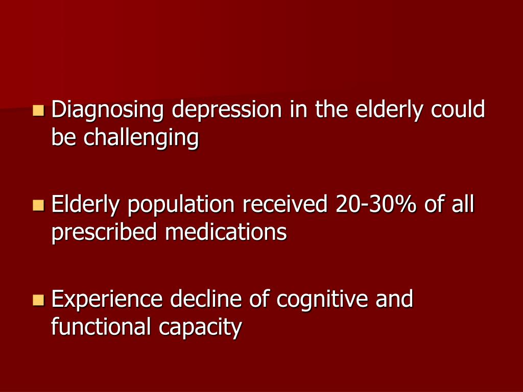 Diagnosing depression in the elderly could be challenging