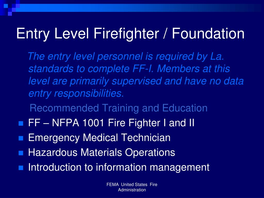 Entry Level Firefighter / Foundation