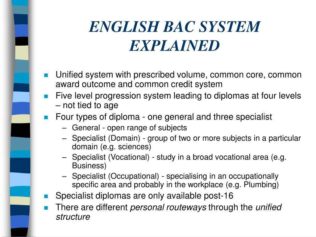 ENGLISH BAC SYSTEM EXPLAINED