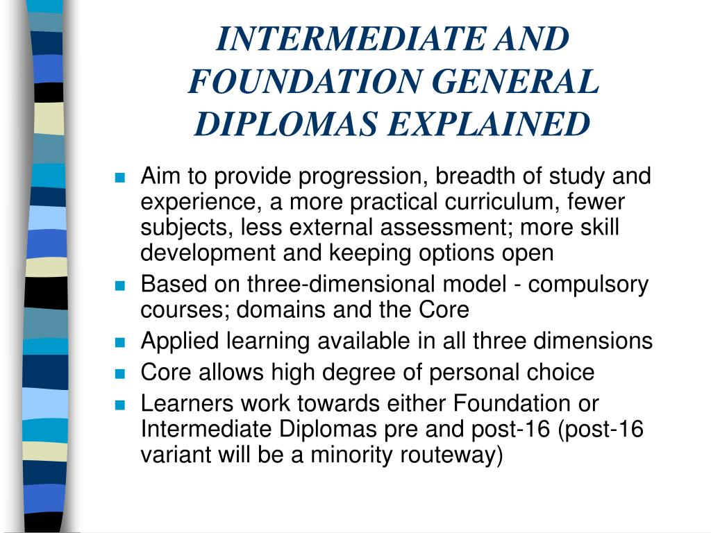 INTERMEDIATE AND FOUNDATION GENERAL DIPLOMAS EXPLAINED