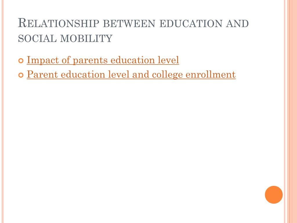 Relationship between education and  social mobility