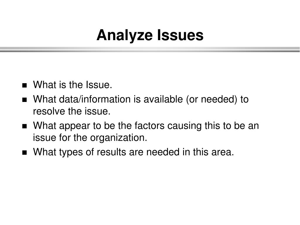 Analyze Issues