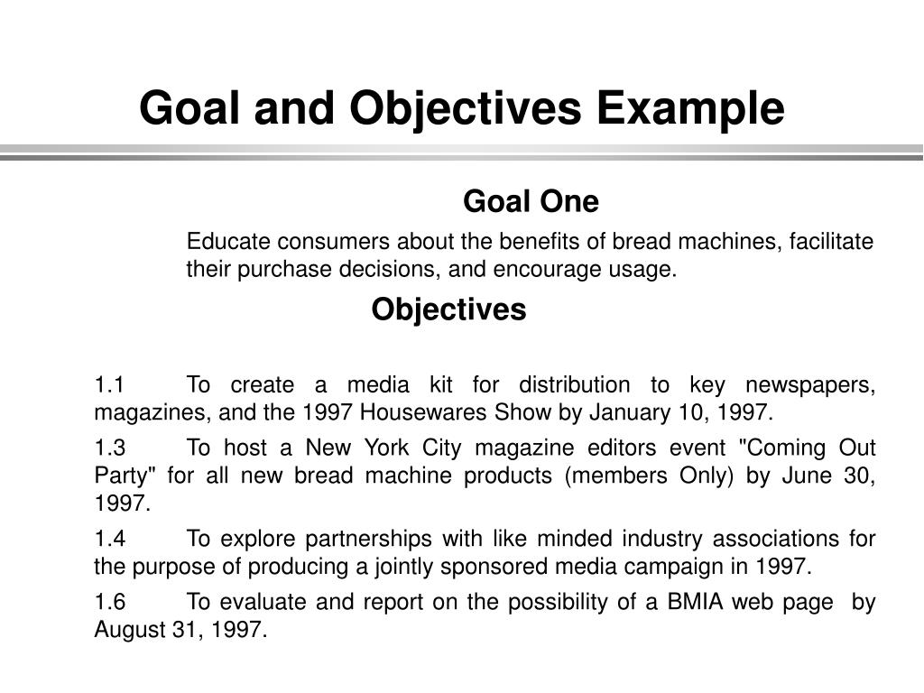 Goal and Objectives Example