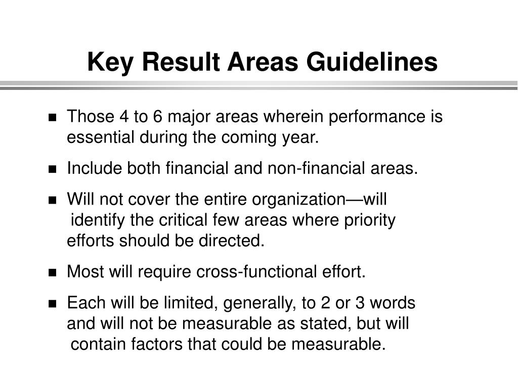Key Result Areas Guidelines