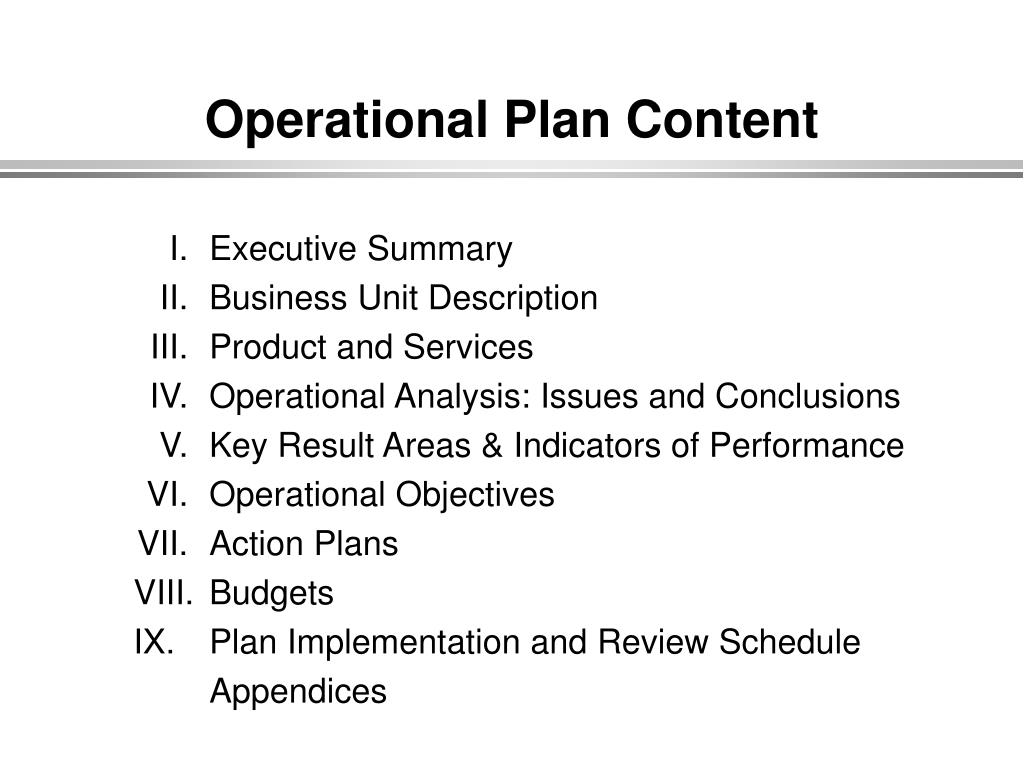Operational Plan Content