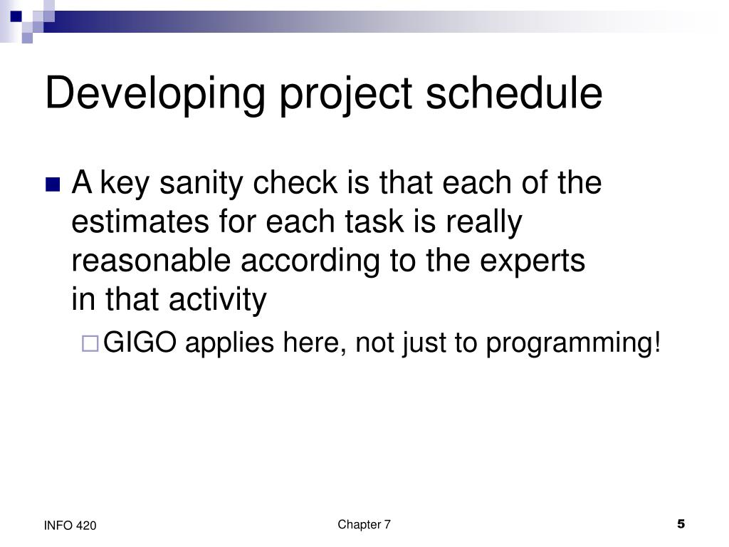Developing project schedule