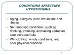 conditions affecting hypothermia