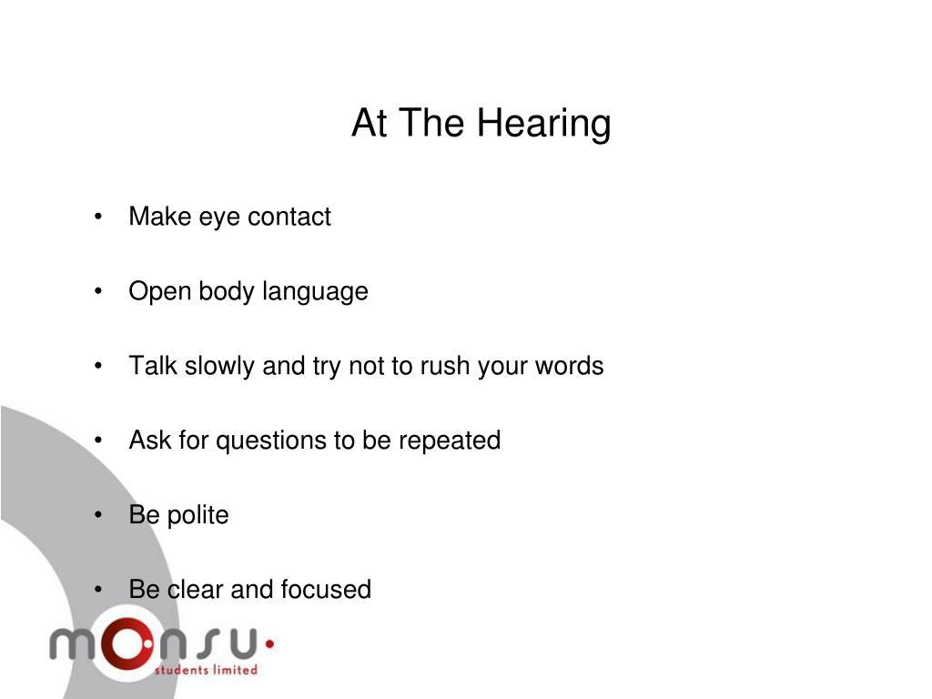 At The Hearing
