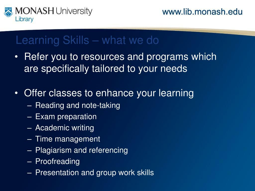 Learning Skills – what we do