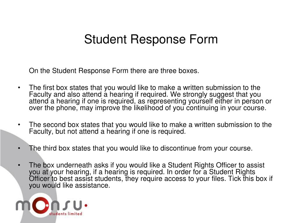 Student Response Form