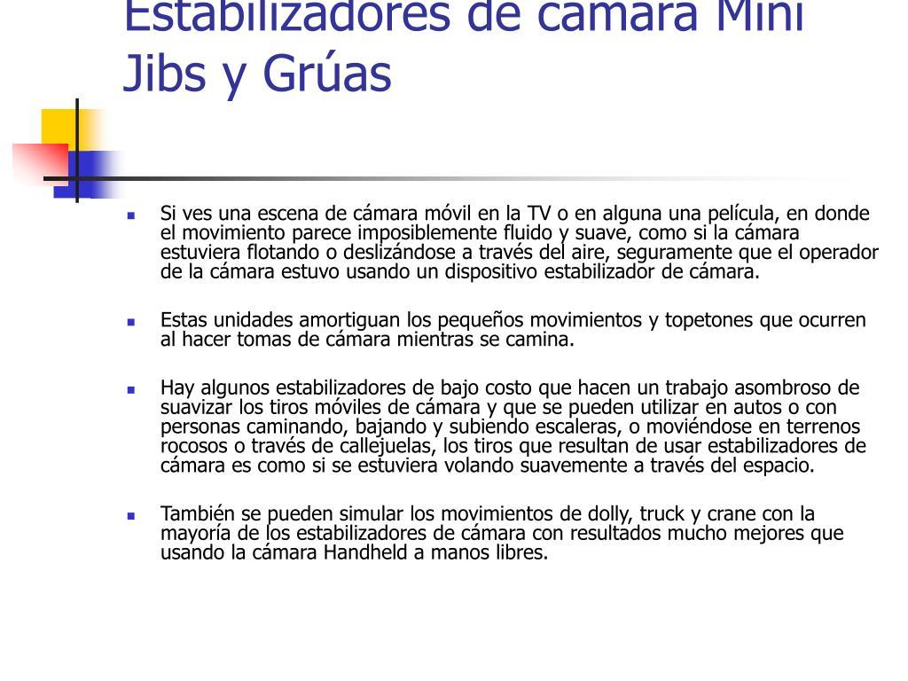 Estabilizadores de cámara Mini Jibs y Grúas