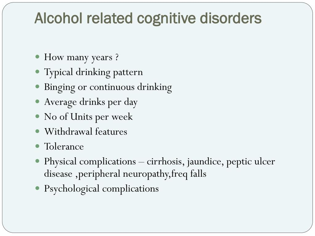 Alcohol related cognitive disorders