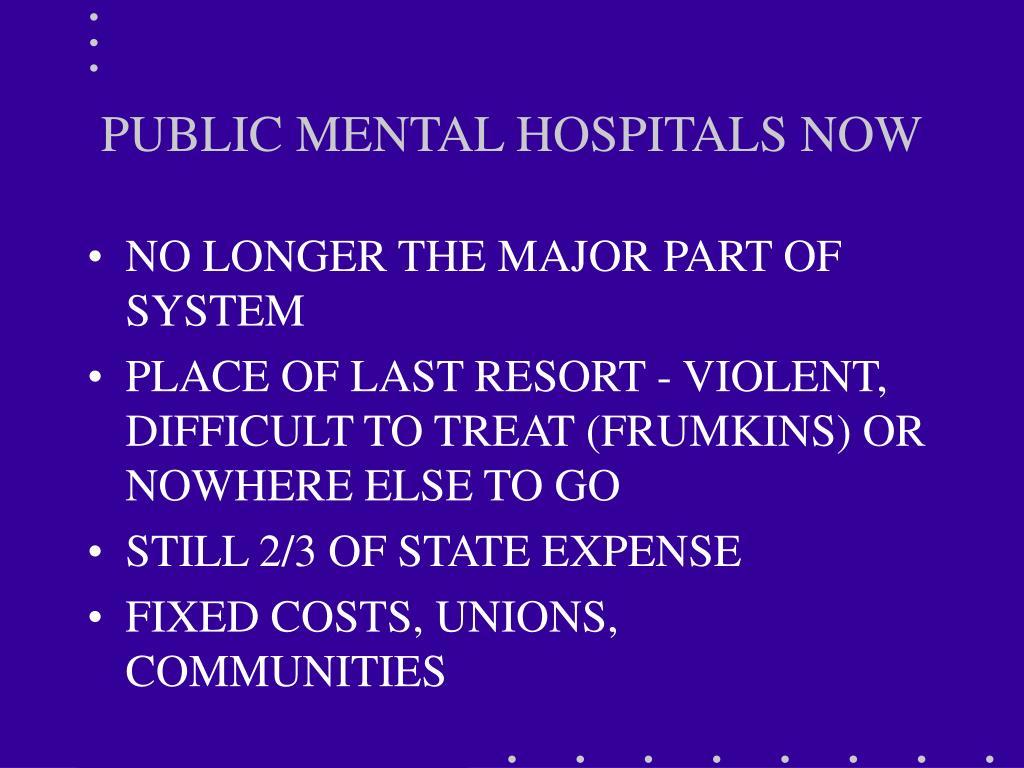PUBLIC MENTAL HOSPITALS NOW