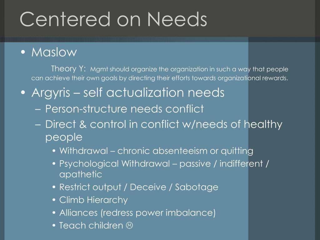 Centered on Needs