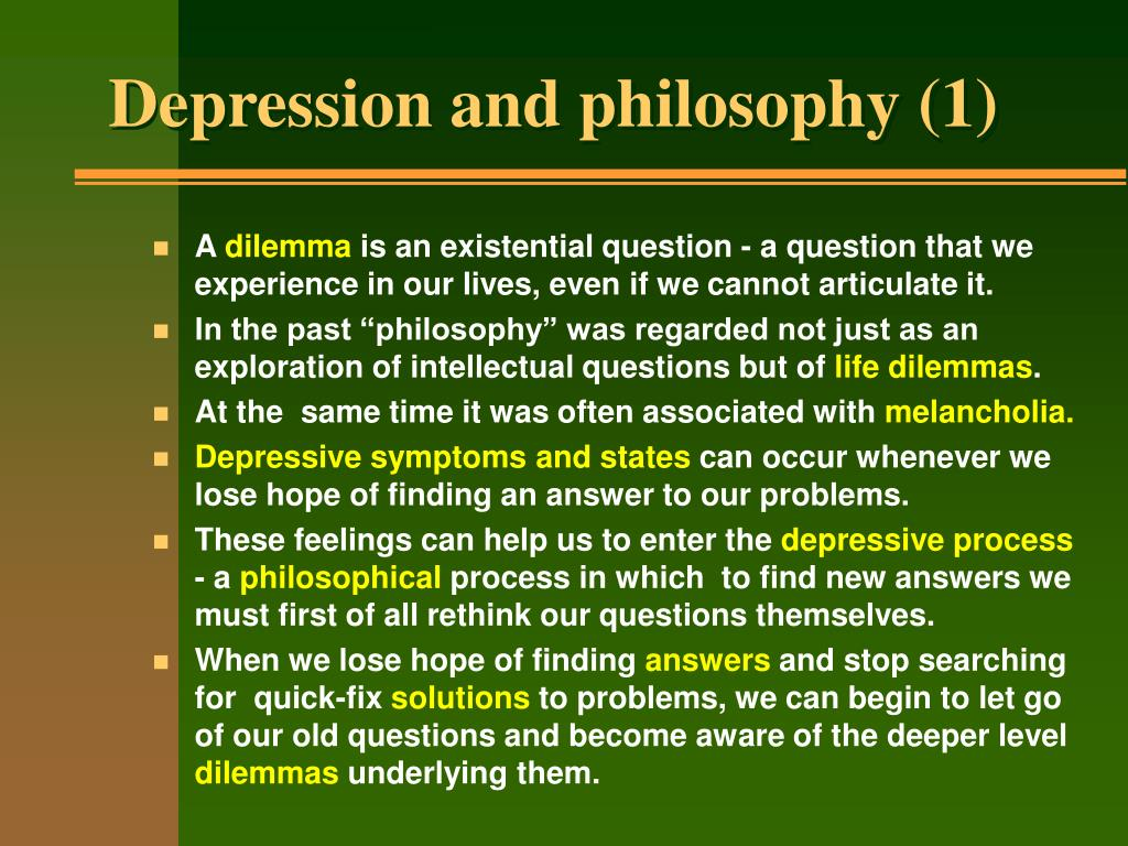 Depression and philosophy (1)