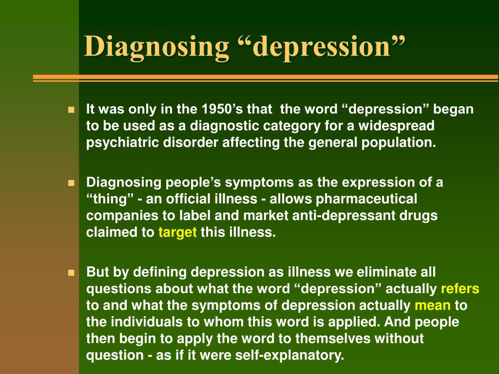 "Diagnosing ""depression"""