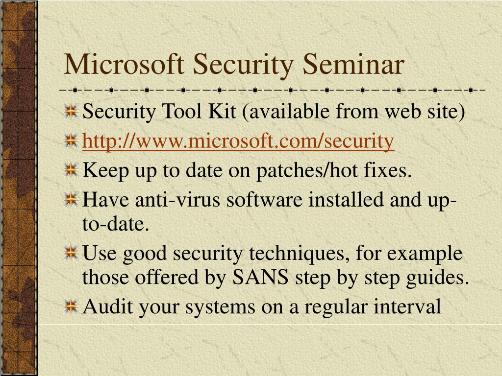 Microsoft Security Seminar