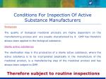 conditions for inspection of active substance manufacturers15
