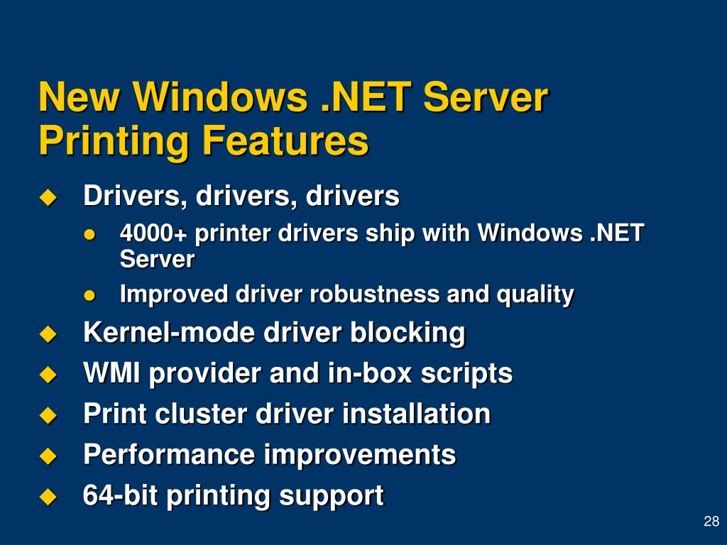 New Windows .NET Server Printing Features